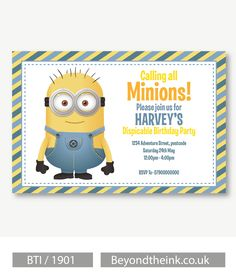 Personalised Minion Invitations.  Printed on Professional 300 GSM smooth card with free envelopes & delivery as standard. www.beyondtheink.co.uk