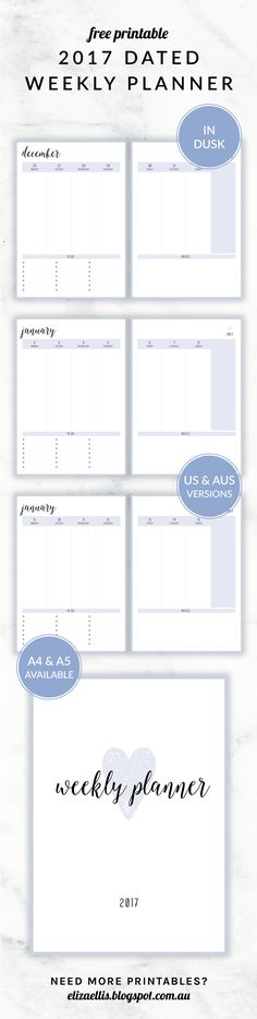 Free Printable 2017 Irma Collection Weekly Planner // by Eliza Ellis. Available in both A4 and A5 sizes, and in 6 different colors. Check out my website to find matching daily planners, weekly diaries, calendars, to do lists, notes, accounts, contacts and much much more!