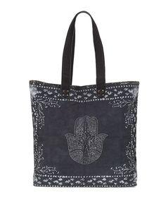 Hatha Canvas Beach Tote Bag, Black