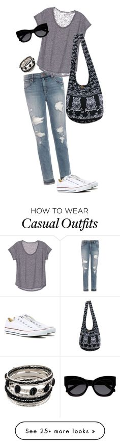 """extreme casual"" by fuzziwuzzi on Polyvore featuring Joe's Jeans, Converse and Karen Walker"