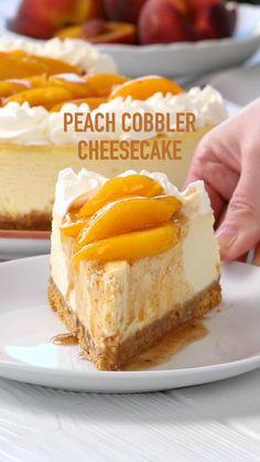 Peach Cheesecake, Easy Cheesecake Recipes, Cheesecake Desserts, Just Desserts, Cheesecake Bites, Cheesecake Squares, Banana Pudding Cheesecake, Orange Creamsicle Cheesecake Recipe, Summer Cheesecake