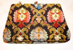 Vintage 60s Tapestry Floral Carpet Bag Purse Clasp by SandylandNYC, $30.00