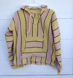 Mexican Poncho Sweater Hoodie Pullover Mens by CanvasVintageLA, $20.00