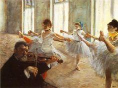 Degas - The Rehearsal Edgar Degas, eigentlich Hilaire Germain Edgar de Gas (1834-1917), war ein französischer Maler und Bildhauer. Er wird häufig zu den Impressionisten gezählt, mit denen er gemeinsam ausstellte. Seine Gemälde unterscheiden sich jedoch von denen des Impressionismus unter anderem durch die exakte Linienführung und die klar strukturierte Bildkomposition.