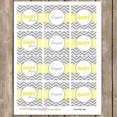 Items similar to Yellow and Grey Chevron Baby Shower Cupcake Toppers or Favor Tags INSTANT on Etsy Baby Shower Chevron, Baby Shower Cupcake Toppers, Circle Punch, Grey Chevron, Favor Tags, Organization Hacks, Babyshower, Shower Ideas, Yellow