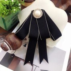 Black Ribbon British Tie Women Accessories Bow Collar Fashion Brooch Pin #Handmade