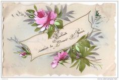 "Carte postale de celluloïd ""Roses"" France."