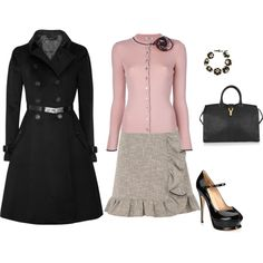 """""""Sexy Librarian. ♥ RED Valentino, YSL, Burberry."""" by ljwhitlock on Polyvore"""