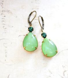 Green Glass Earrings Emerald Green Rhinestone Dangle Vintage Style Light Green Teardrop Nickel Free Lever back