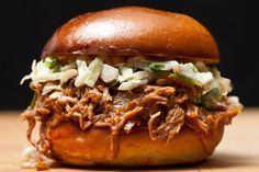 Pulled Pork Sanwiches with cole slaw for tailgating.