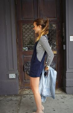 striped top, dungarees, denim jacket