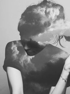 Inspiration image: Take photo of sky/clouds, use for silhouettes. Either as positive or negative image. Dreamy portraits for sky parlor. Double Exposure Photography, Art Photography, Concept Photography, Photomontage, Head In The Clouds, Kunst Online, Foto Art, Art And Illustration, Photo Manipulation
