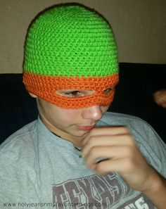 FREE Crochet Ninja Turtle Mask Beanie Pattern Size Small