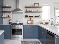 Bold Colour - The Designer Secrets Behind 12 Stunning Kitchens - Western Living Blue Gray Kitchen Cabinets, Cheap Kitchen Cabinets, Kitchen Cabinet Colors, Diy Kitchen, Kitchen Furniture, Kitchen Interior, Kitchen Decor, Kitchen Ideas, Furniture Stores