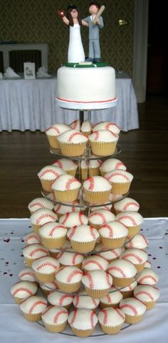 @ kate. We could also do this minus the wedding top. Baseball Cupcake Tower