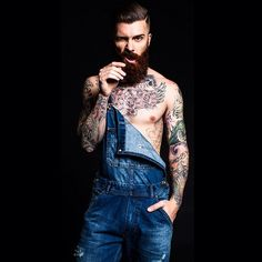 cheeky lumbersexual in overalls sans shirt // menswear style + fashion