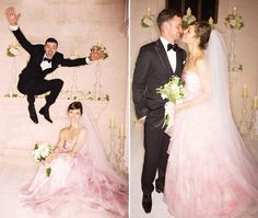 Jessica Biel in her pink Giambattista Valli wedding dress with Justin Timberlake