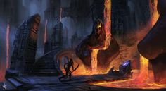 Dark Temple by Chris-Karbach ruins city lava volcano thief rogue assassin player character npc landscape location environment architecture | Create your own roleplaying game material w/ RPG Bard: www.rpgbard.com | Writing inspiration for Dungeons and Dragons DND D&D Pathfinder PFRPG Warhammer 40k Star Wars Shadowrun Call of Cthulhu Lord of the Rings LoTR + d20 fantasy science fiction scifi horror design | Not Trusty Sword art: click artwork for source