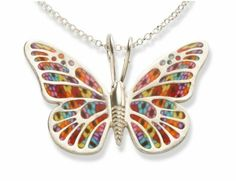 Millefiori Butterfly by Adina Plastelina. Sterling silver pendant decorated with Millefiori pattern. Ancient cultures believe that butterflies symbolize a joyful rebirth