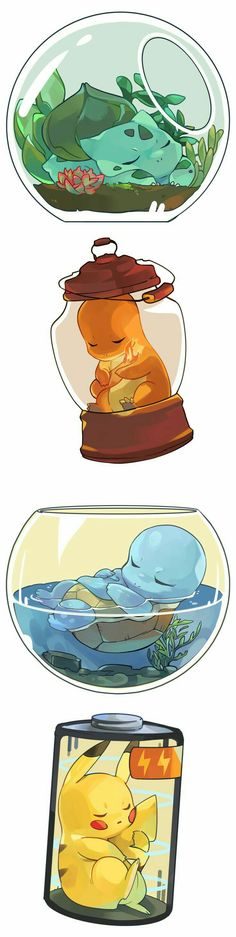 Bulbasaur, Charmander, Squirtle, and Pikachu - Poke Ball Pokemon Comics, Pokemon Funny, Pokemon Memes, Pokemon Fan Art, Kawaii Drawings, Cute Drawings, Animes Wallpapers, Cute Wallpapers, Cute Pokemon Pictures