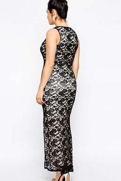 plus size maxi dress | black lace v neck side slit plus size maxi dress sku 016623 385 $ 32 ...
