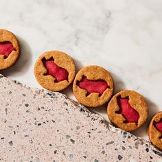 Sparkle Pigs (Gingerbread Shortbread Cookies With Cranberry Curd) Recipe on Cranberry Curd Recipe, Cranberry Cookies, Cocoa Cookies, Shortbread Cookies, Shaped Cookie, Sandwich Cookies, Food 52, Quick Easy Meals, Pigs