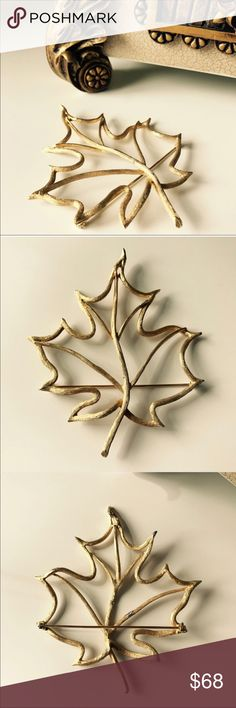 Maple leaf pin Large and stunning brooch from Anthropologie Beautiful delicate gold framed maple 🍁 leaf brooch. Delicate compliment to any outfit, hat, purse, belt etc. Anthropologie Jewelry Brooches