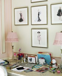 Miles Redd - girl's rooms - desk area, marble topped desk, homework area, homework desk, pink and ivory walls, pink and ivory paneled walls,...