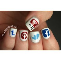 Social Media Nail Art ❤ liked on Polyvore