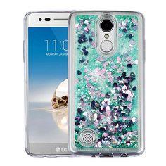 Quicksand Liquid Crystal LG Aristo/Phoenix 3/Fortune/K8 2017 Case - Hearts/Green