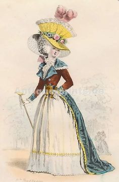 Modes Parisiennes, Règne De Louis XVI, D´Après Debucourt, 1787 18th Century Dress, 18th Century Clothing, 18th Century Fashion, European Fashion, French Fashion, Vintage Fashion, Historical Costume, Historical Clothing, Costume Français