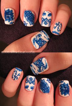 """""""Ming Vase Nails,"""" these look a lot like blue delft."""