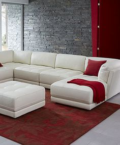 Traverso Leather 3 Piece Chaise Modular Sectional Sofa   Couches U0026 Sofas    Furniture   Macyu0027s | Living Room/dining Room | Pinterest | Modular  Sectional Sofa ...