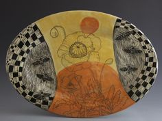 Platter: Bees in the Poppy Field by Patricia Griffin of Cabira, CA. 2014 NICHE Awards Finalist. Category: Ceramics, Functional. #bees, #platter, #poppy, #poppyfield, #Ceramic