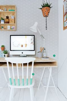 cute home office + DIY ideas #decor #escritórios #homeoffice