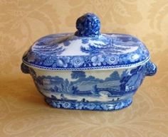 Antique Staffordshire Sauce Tureen Blue Transferware Wild Rose Lion Finial Knobs photo