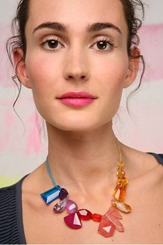 rainbow gemstone necklace - DIY this