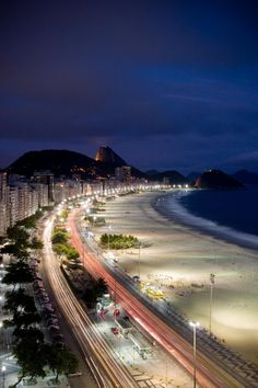 Copacabana at night - Rio de Janeiro, Brazil. Visited in the late 60's. It's so beautiful...I loved it.
