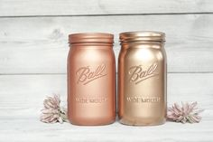 Widemouthed quart painted mason jars copper and blush gold. Comparison