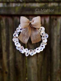 Fall oyster shell burlap wreath - so pretty! Oyster Shell Crafts, Oyster Shells, Owl Wreaths, Easter Wreaths, Christmas Wreaths, Christmas Decor, Sea Glass Crafts, Seashell Crafts, Beach Christmas