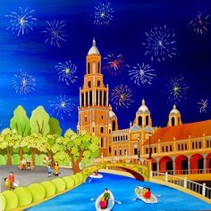 Spain ~ Ana Sánchez Marín ~ Square in Seville Henri Rousseau, Landscape Illustration, Illustration Art, Academic Art, Seville Spain, Cute Backgrounds, Spain And Portugal, Naive Art, Artist Gallery