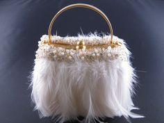 NEW MOO ROO MARY NORTON EVENING BAG FEATHERS IVORY WHITE BEADED TRIM WEDDING | eBay
