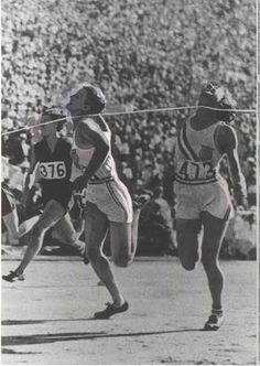 My Great Aunt Babe Didrikson breaking the world record in the 80 meter hurdles in the 1932 Los Angeles Olympics.