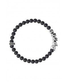 King Baby - Onyx Bead Bracelet with 5 Skulls Mens Designer Jewelry, Jewelry Design, Fashion Jewellery, Fashion Accessories, Jewelry King, King Baby, Jewelry Branding, Skulls, Revolution