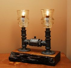 PVC Pipe Lamp | Industrial Style Lamp with Glass Insulators and by TRoweDesigns