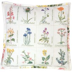 """Wild Flower Cushion On Aida Counted Cross Stitch Kit-16.125""""X16.125"""" 16 Count"""