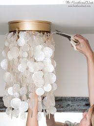 DIY Light Fixture - ban the boob lights in 5 minutes. 2 DIY Tutorials to Modernize Basic Builder Grade Flushmount Lighting. Diy Light Fixtures, Bedroom Light Fixtures, Bedroom Lighting, Ceiling Fixtures, Ceiling Light Shades, Ceiling Lights, Diy Light Shade, Diy Luz, Boho Lighting