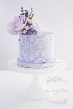 Lilac Floral Cake with damask stencilling and decorated with whimsical sugar flowers - Cake by Julia Marie Cakes