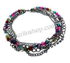 Kristall Halskette, mit Messing Klaue Kette & Eisenkette, metallschwarz plattiert, Twist oval & mit Strass, frei von Nickel, Blei & Kadmium,...