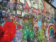 Prague: The John Lennon Wall.  I spent a hefty chunk of time there reading the messages others have left and admiring their artwork.  Graffiti can be a beautiful thing, don't you agree?